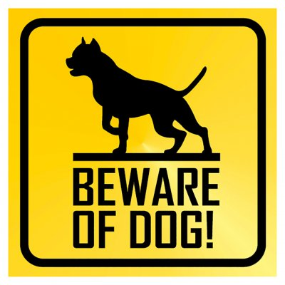 beware of dog skylt