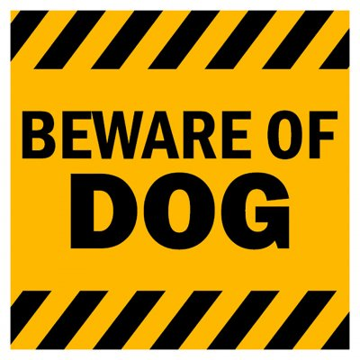 beware of dog skylt varningsskylt