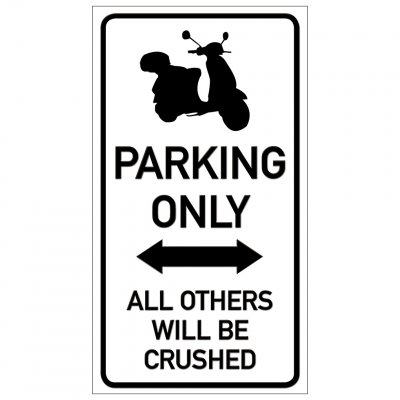 Moped parkering endast parking funny sign crushed krossa rolig