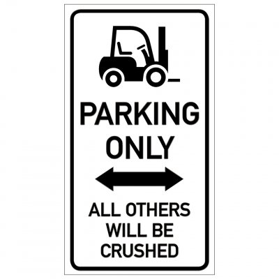 Truck parkering endast parking funny sign crushed krossa rolig